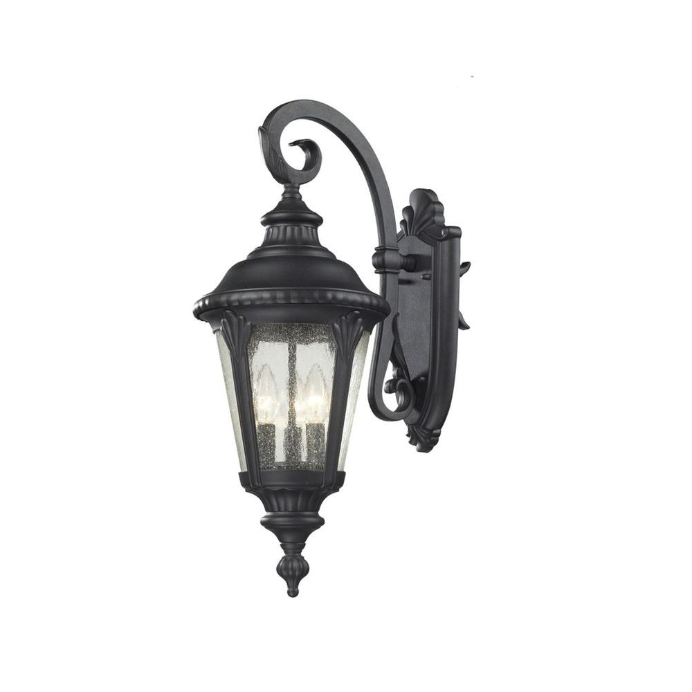 Lawrence 3-Light Black Incandescent Outdoor Wall Light