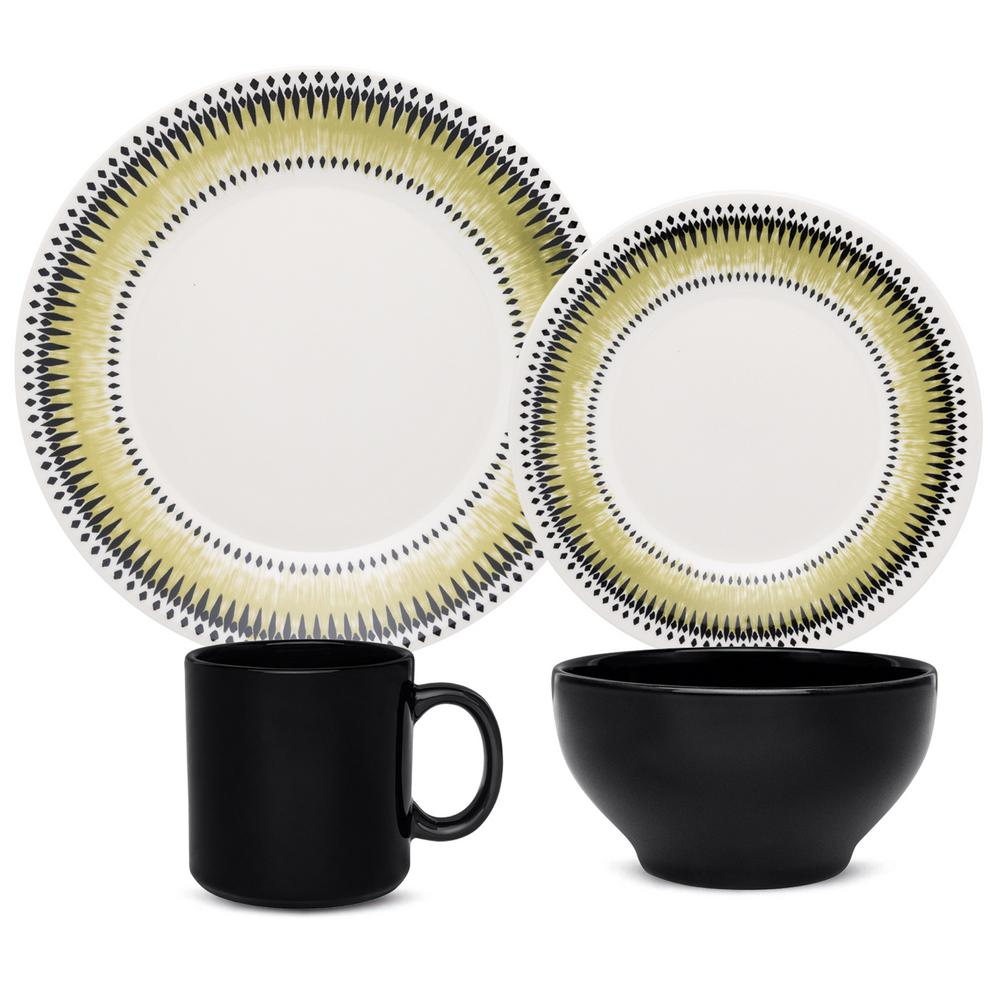 Manhattan Comfort Actual Green and Black 16-Piece Casual Green and Black Earthenware Dinnerware Set (Service for 4) was $129.99 now $78.18 (40.0% off)