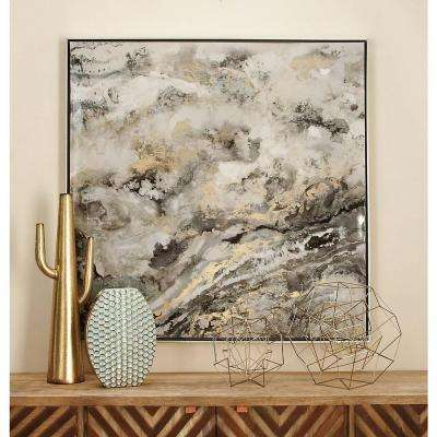 """41 in. x 41 in. """"Abstract Marble"""" Framed Canvas Wall Art"""
