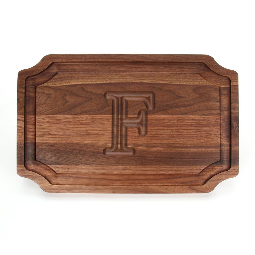 Selwood 1-Piece Walnut Cutting Board with Carved F