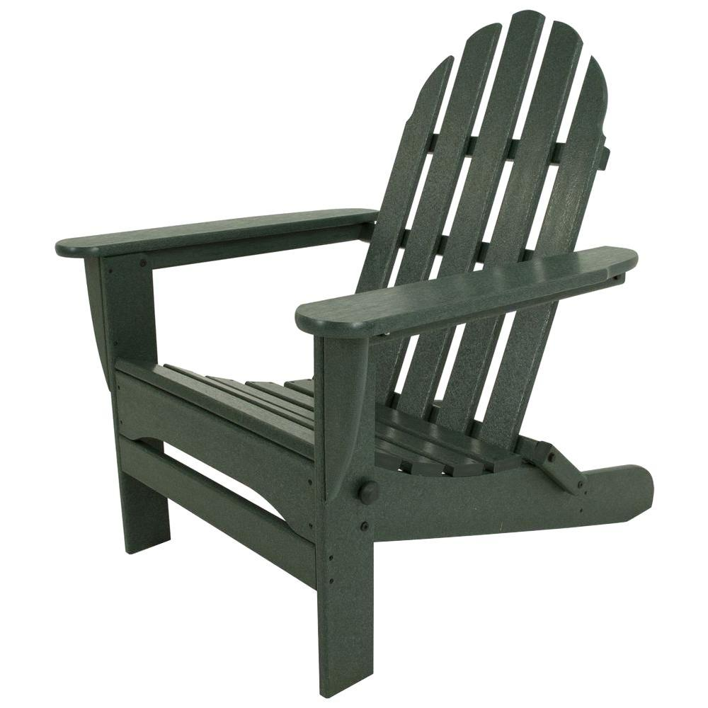 Exceptional POLYWOOD Classic Green Plastic Patio Adirondack Chair