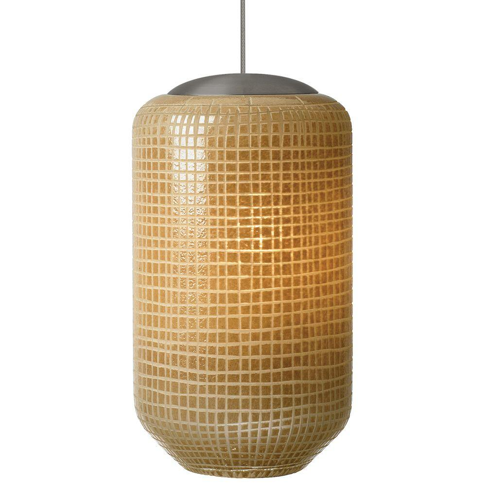 LBL Lighting Mini-Aiko 1-Light Bronze Xenon Mini Pendant with Ivory Shade