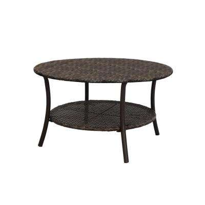 32 in. Mix and Match Brown Round Wicker Outdoor Patio Coffee Table With Woven Table Top