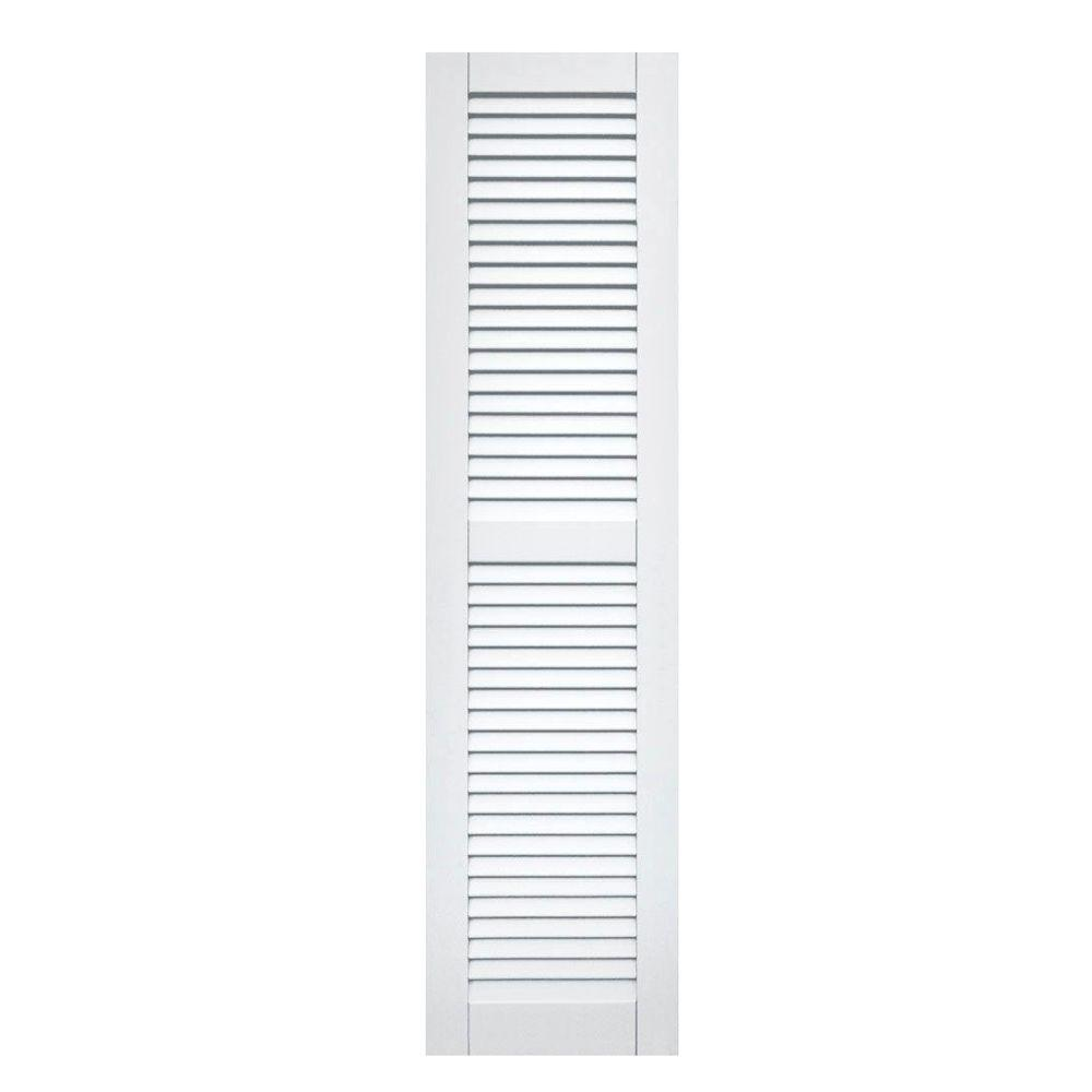 Winworks Wood Composite 15 in. x 60 in. Louvered Shutters Pair #631 White