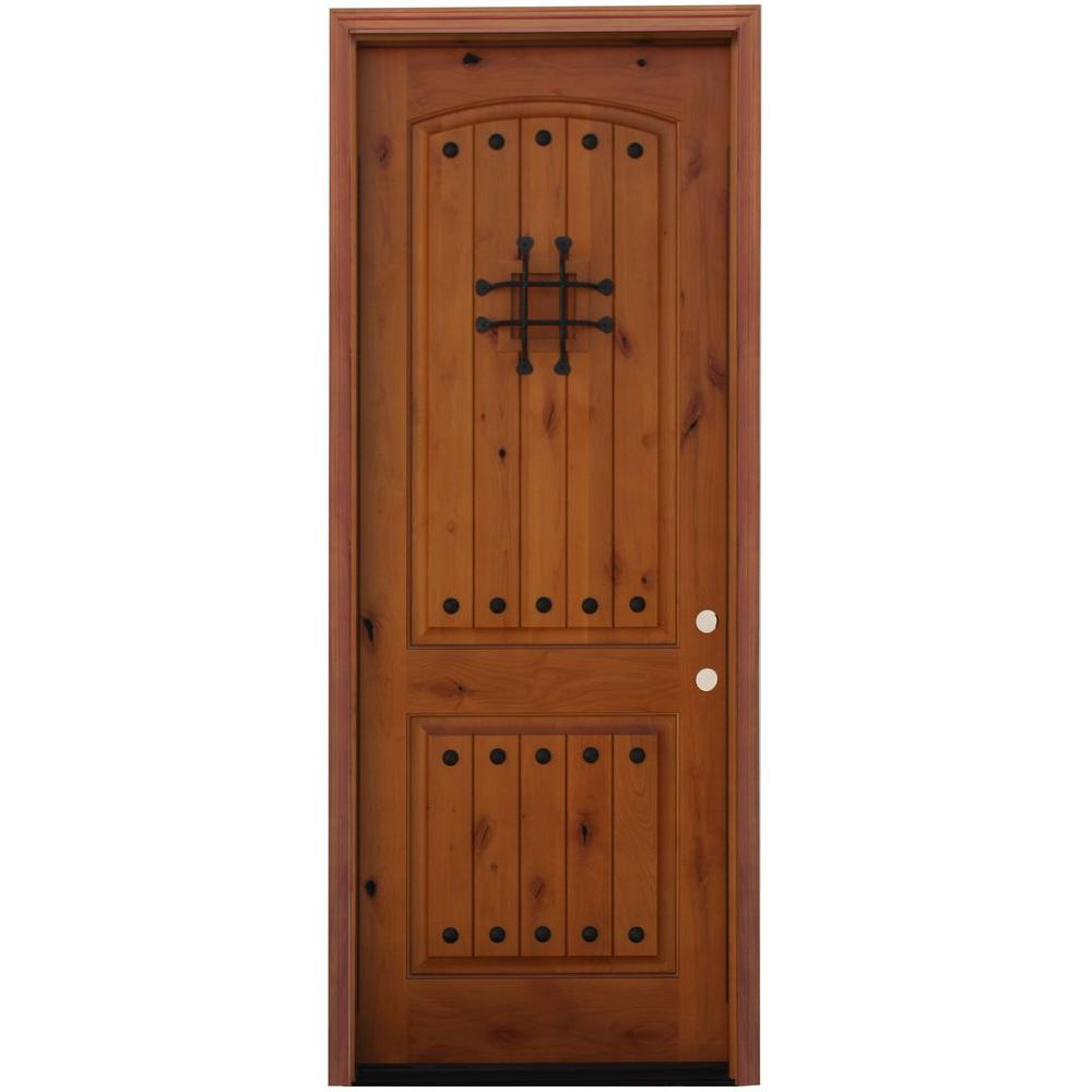 Pacific Entries 36 in. x 96 in. Rustic 2-Panel Wood Prehung Front Door with 6 in. Wall Series and 8 ft. Height Series