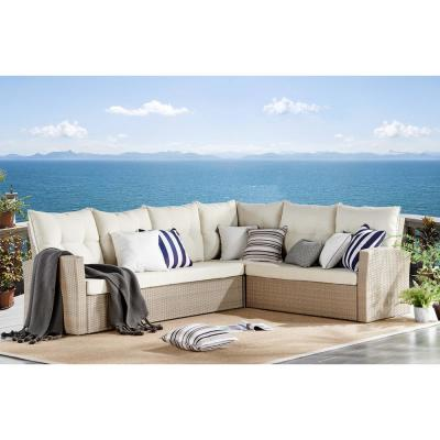 Canaan Brown All-Weather Wicker Outdoor Large Corner Sectional Sofa with Cream Cushions