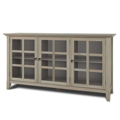 Brunswick Distressed 62 in.Grey Wide Rustic Wide Storage Cabinet with Solid Wood