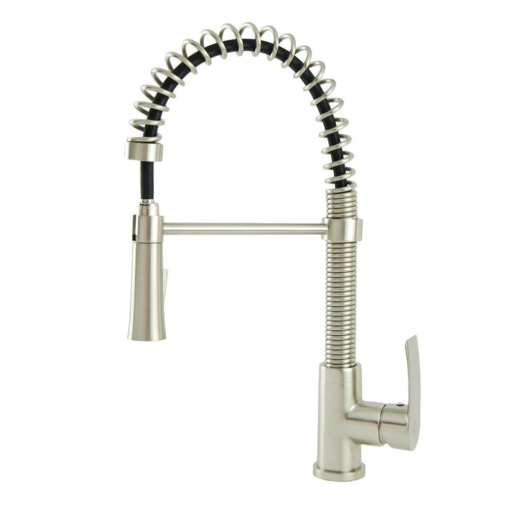 Italia Contemporary Residential Single-Handle Spring Coil Pull-Down Sprayer Kitchen Faucet in Brushed Nickel