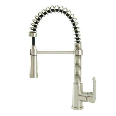 Contemporary Residential Single-Handle Spring Coil Pull-Down Sprayer Kitchen Faucet in Brushed Nickel
