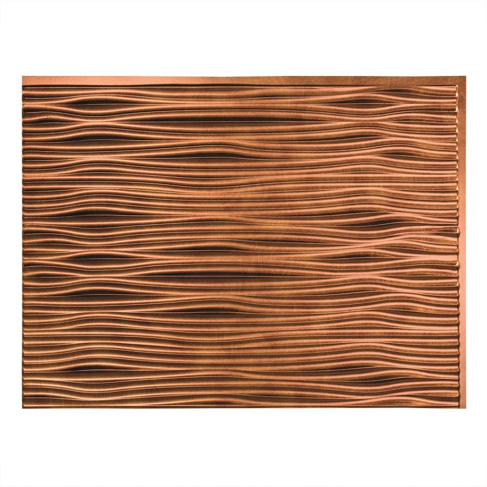Fasade 24 in. x 18 in. Waves PVC Decorative Tile Backsplash in Antique Bronze