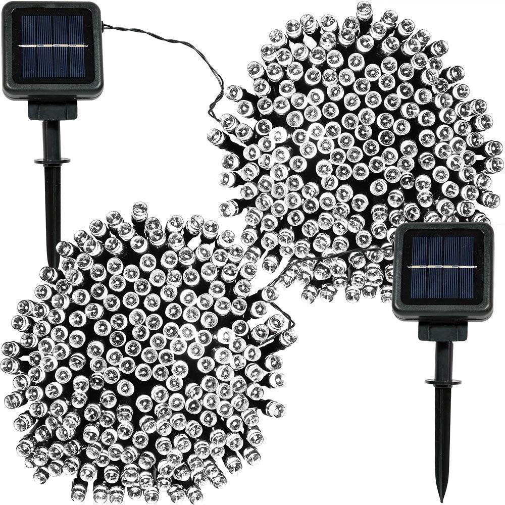 200-Light Outdoor 68 ft. Solar Round Mini LED String Light Set in White (2-Pack)