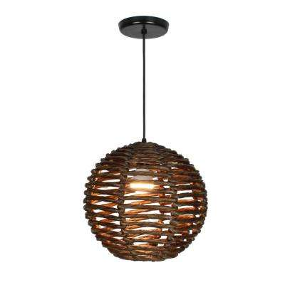 Luisa 1-Light Dark Brown Pendant Globe