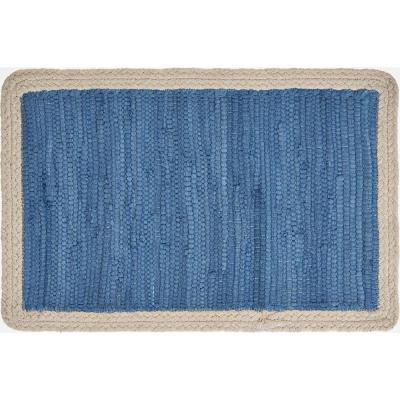 19 in. x 13 in. Ocean Blue / Cream Bordered Cotton Placemat (Set of 4)