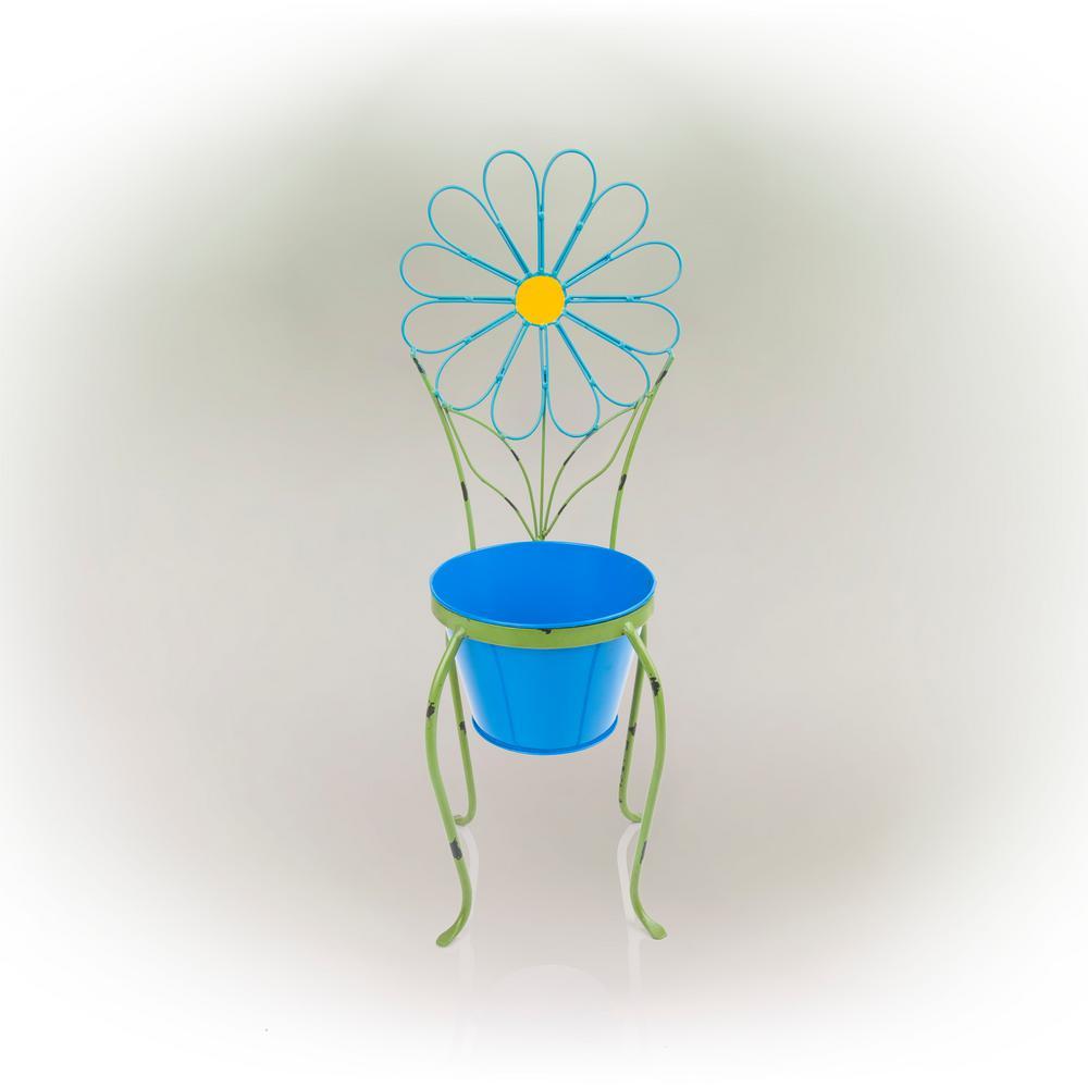 Blue Flower Iron Planter Stand