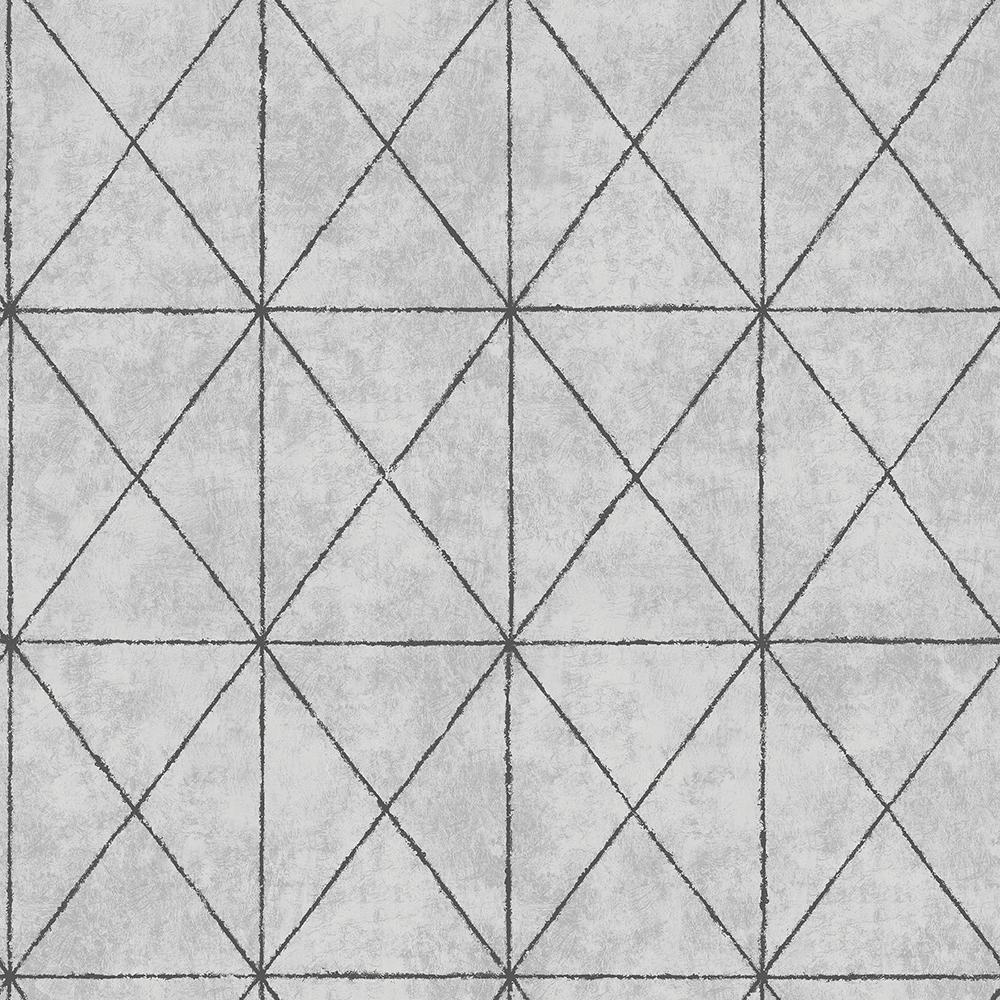 Intersection Silver Geometric Silver Wallpaper Sample