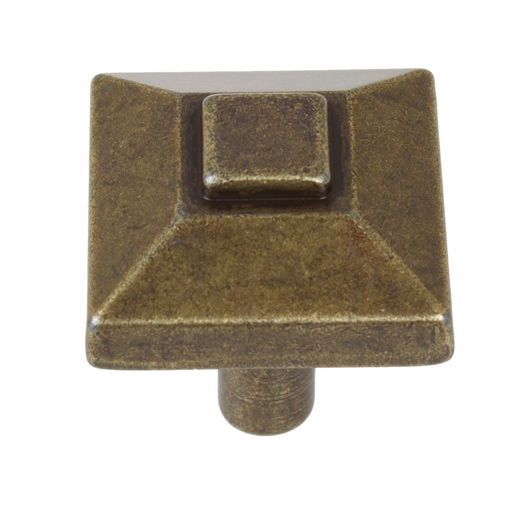 7/8 in. Antique Brass Square Pyramid Cabinet Knob (10-Pack)