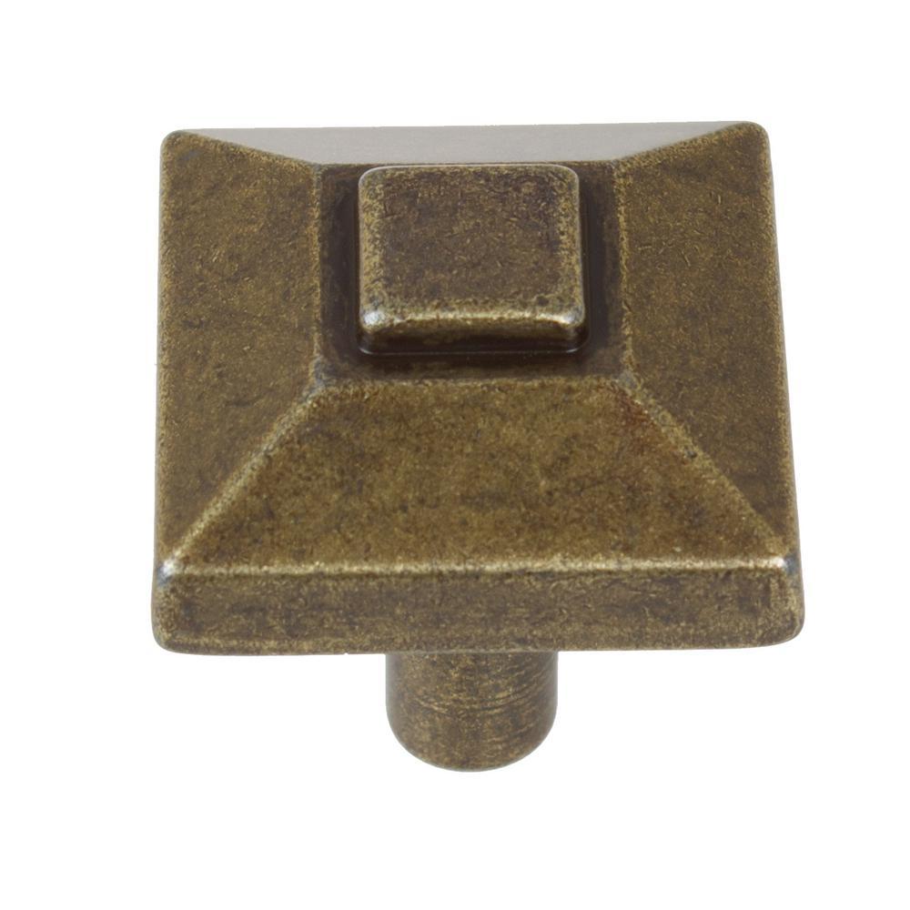 GlideRite 7/8 in. Antique Brass Square Pyramid Cabinet Kn...