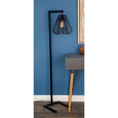 55 in. Modern Iron Wire Diamond Floor Lamp in Black