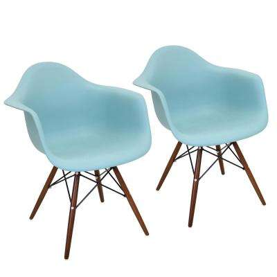 Neo Flair Sea Green and Espresso Accent Chair (Set of 2)
