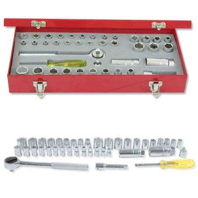 1/4 in. & 3/8 in. Drive 12-Point & 6-Point Standard & Metric Hand Socket & Accessories Set (40-Piece)