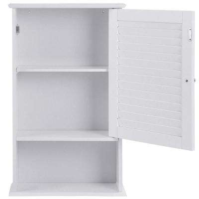 16.5 in. W Wall Hanging Bathroom Storage Cabinet with One Door in White