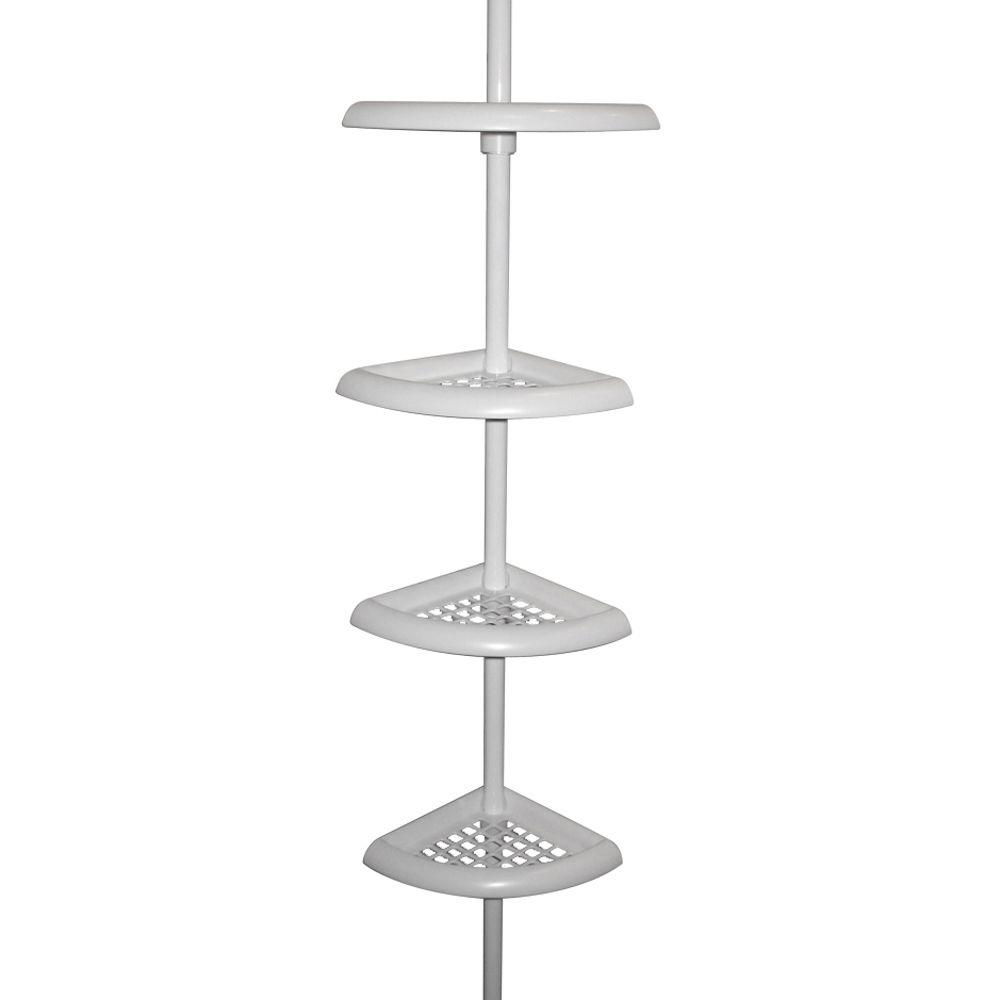 Zenna Home 4-Tier Corner Shower Caddy in White-E2104W - The Home Depot