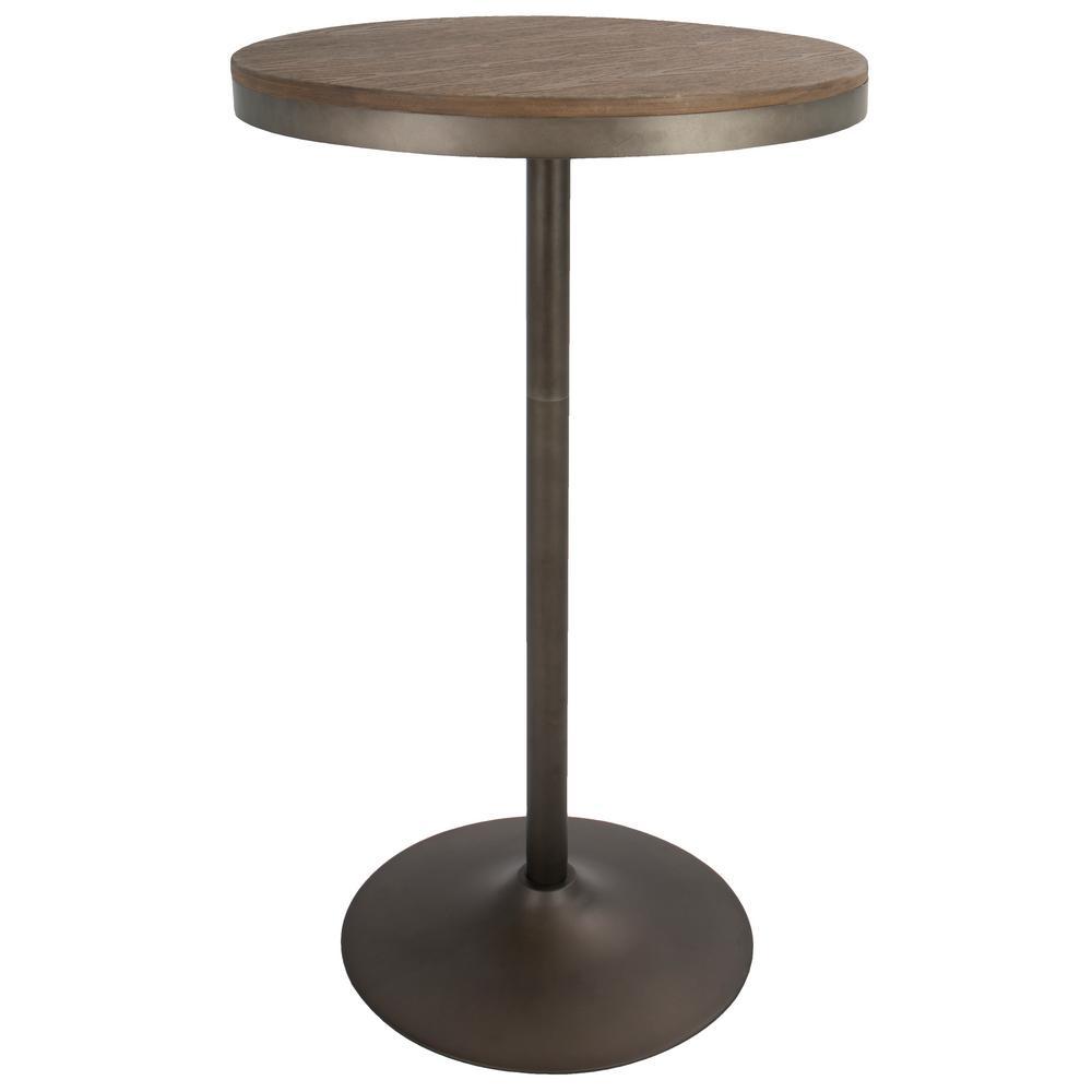 Lumisource Dakota Industrial Antique Brown Metal Adjustable Bar Table  Bamboo Top