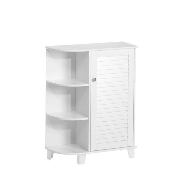 Ellsworth 23-5/8 in. W x 31-1/10 in. H Bathroom Linen Storage Floor Cabinet with Side Shelves in White