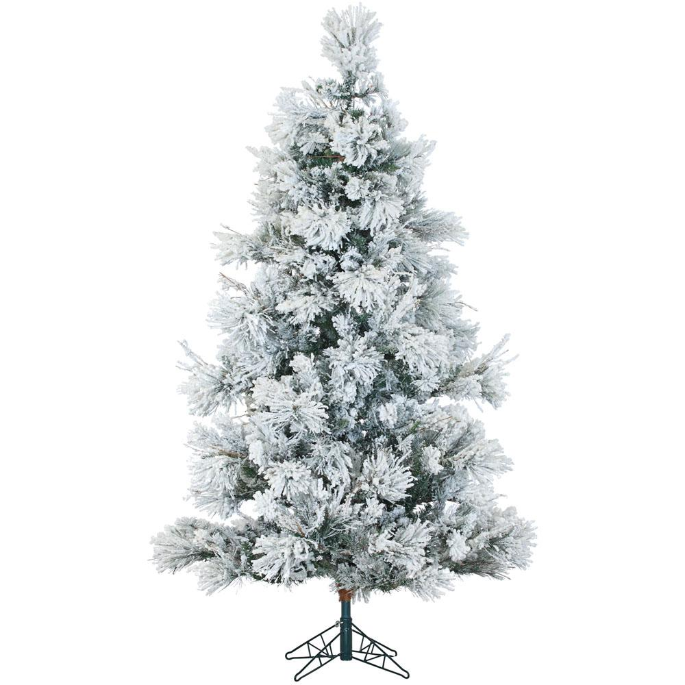Fraser Hill Farm 9 ft. Pre-lit LED Flocked Snowy Pine Artificial Christmas Tree with Clear String Lights