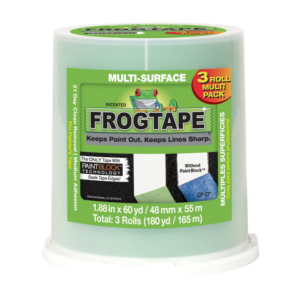FrogTape Multi-Surface 1.88 in. x 60 yds. Green Painter's Tape with PaintBlock (3-Pack)