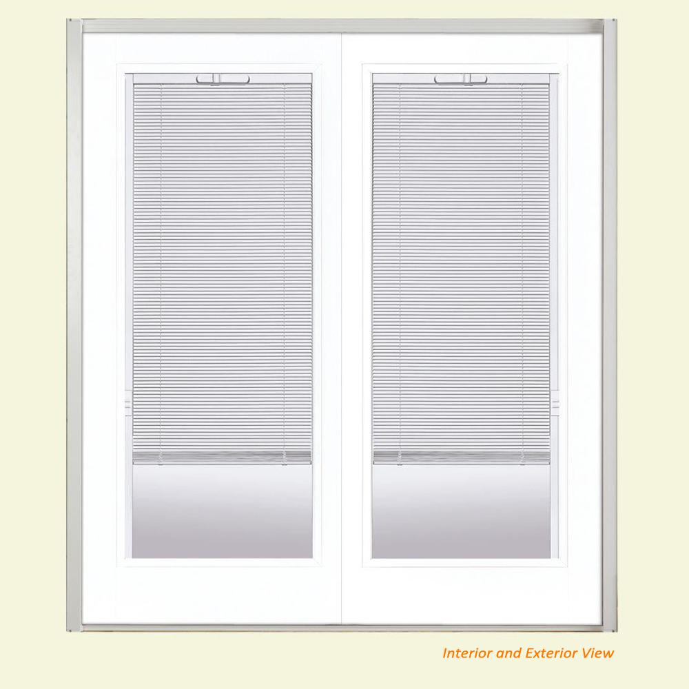 Masonite 60 in. x 80 in. Ultra White Steel Prehung Left-Hand Inswing Mini Blind Patio Door without Brickmold