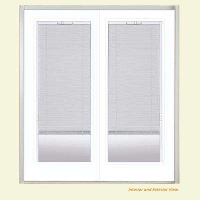 60 in. x 80 in. Ultra White Steel Prehung Left-Hand Inswing Mini Blind Patio Door without Brickmold