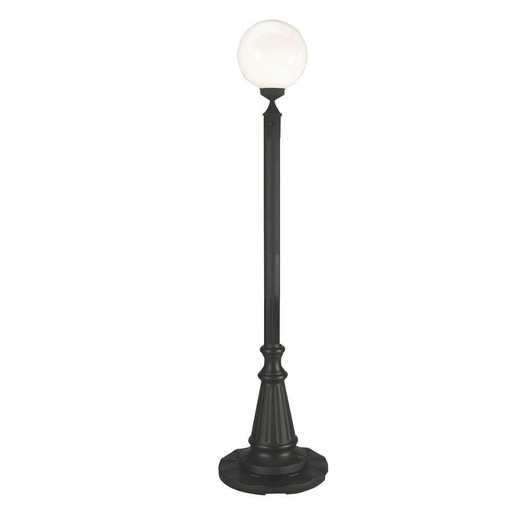 Patio Living Concepts European Single White Globe Plug-In Outdoor Black Lantern Patio