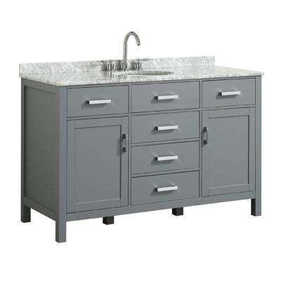Hampton 55 in. W x 22 in. D Bath Vanity in Grey with Marble Vanity Top in White with White Basin