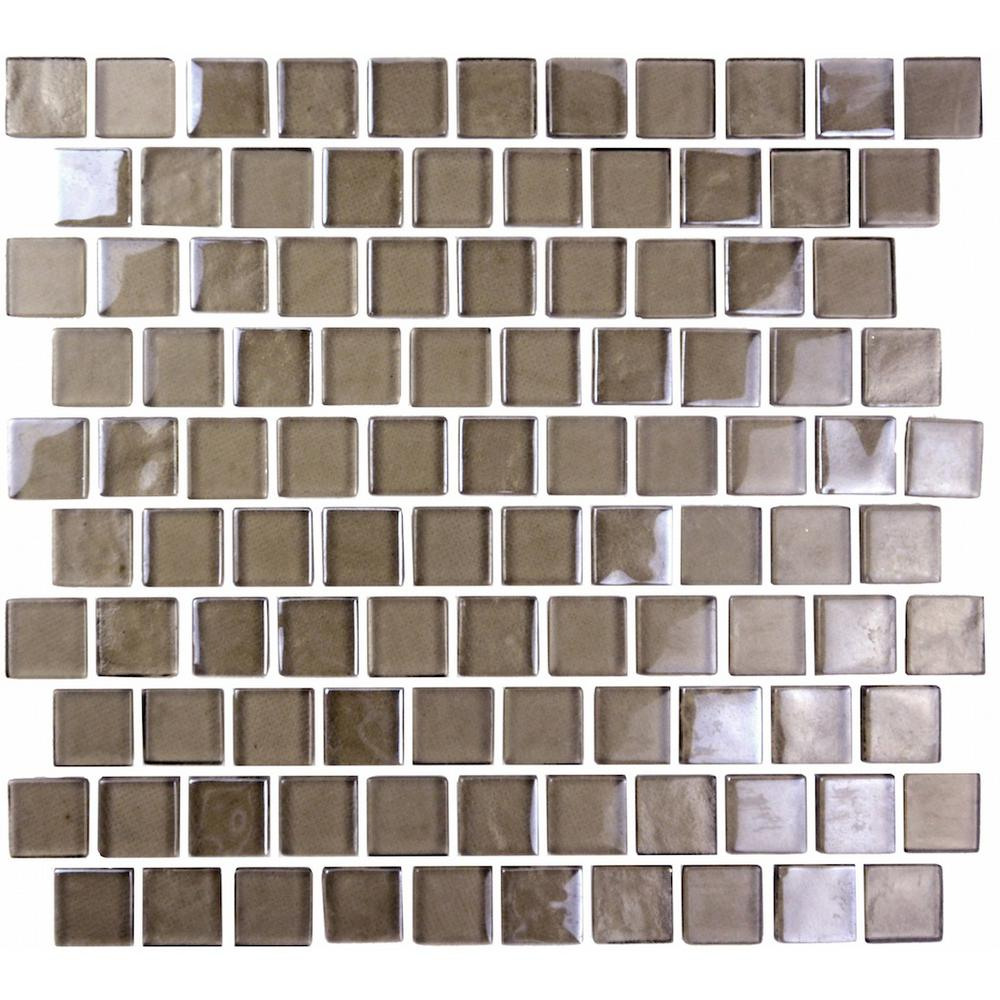 Landscape Brown 10.75 in. x 11.75 in. x 6.35mm Glass Mosaic