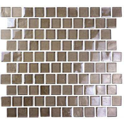 Landscape Grand Canyon Brown Linear Mosaic 1 in. x 1 in. Glossy Glass Wall Pool and Floor Tile (0.84 Sq. ft.)