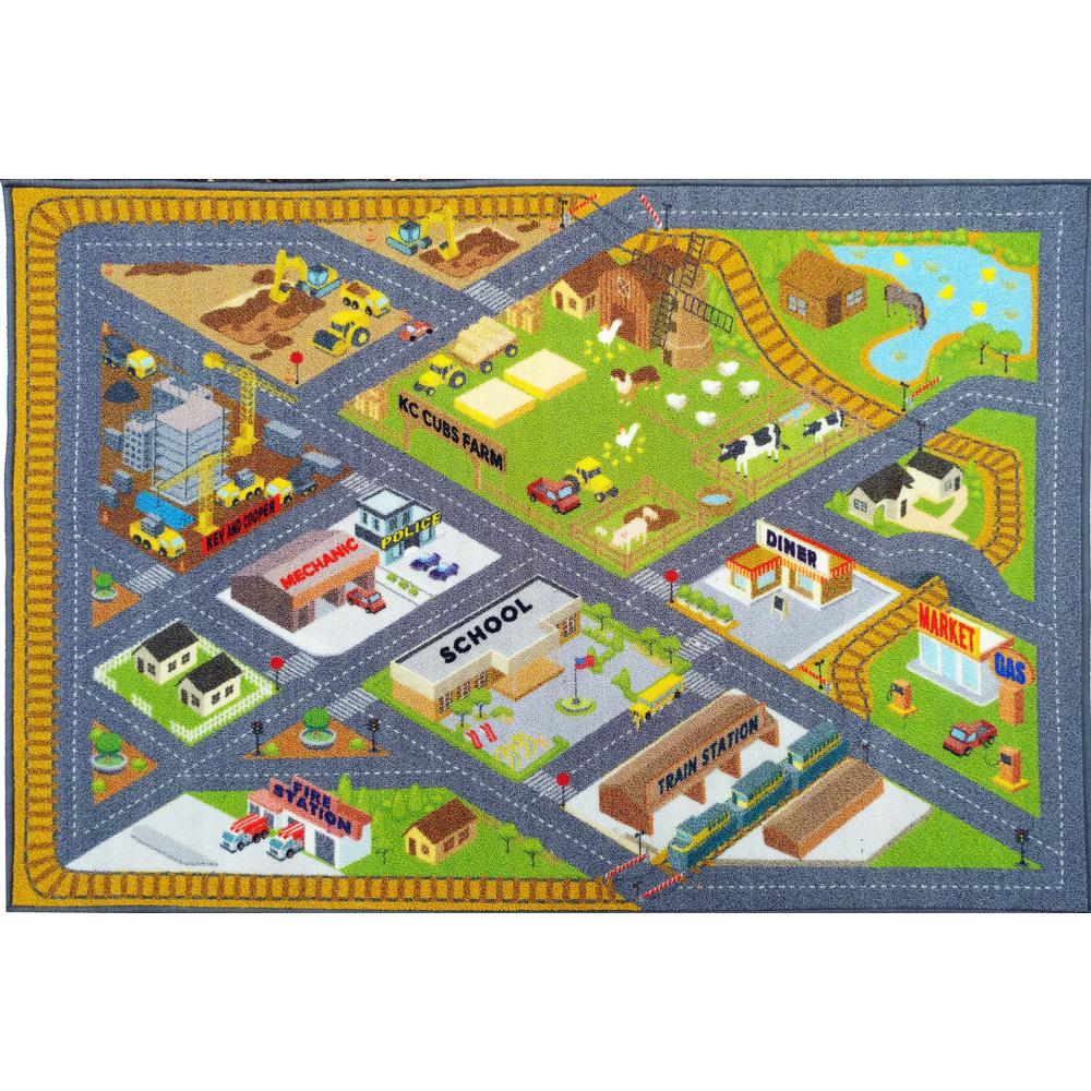 KC CUBS Multi-Color Kids Children Bedroom Farm Road Map Construction Educational Learning 8 ft. x 10 ft. Area Rug