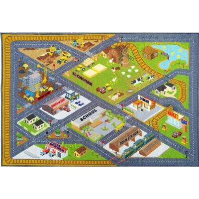 Multi-Color Kids Children Bedroom Farm Road Map Construction Educational Learning 8 ft. x 10 ft. Area Rug