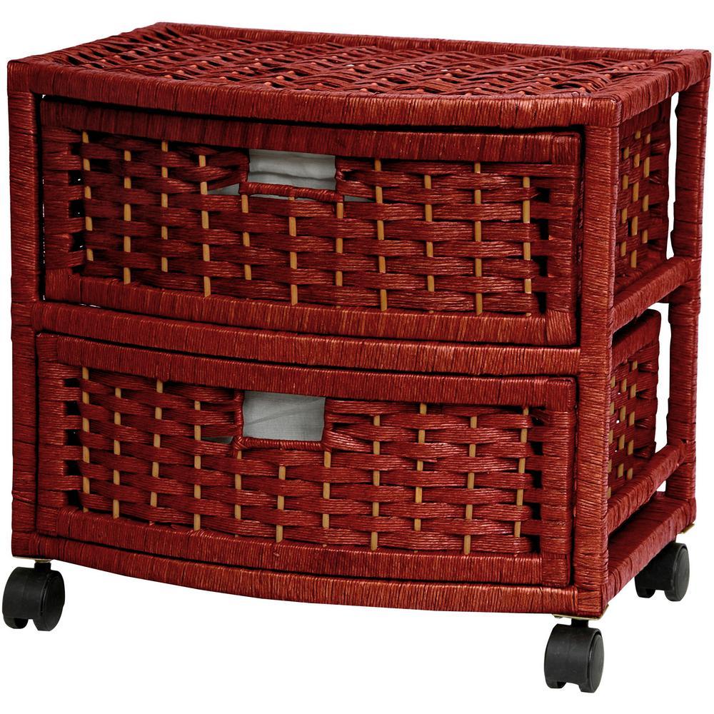 Oriental Furniture 2-Drawer Mahogany Natural Fiber Storage Chest JH09-051-2-MHGNY