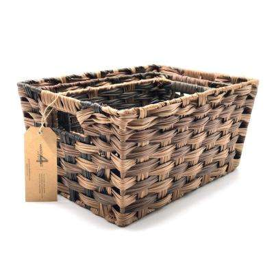 14.5 in. L x 10.5 in. W x 7.5 in. H Brown Faux Plastic Nested Basket (Set of 3)
