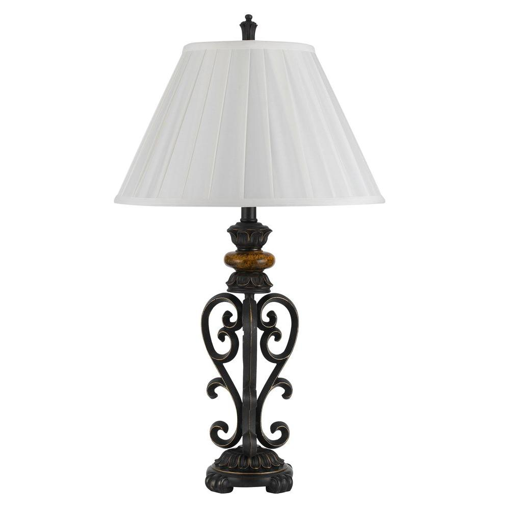 CAL Lighting 29.5 in. Dark Bronze Iron/Resin Table lamp with Shade