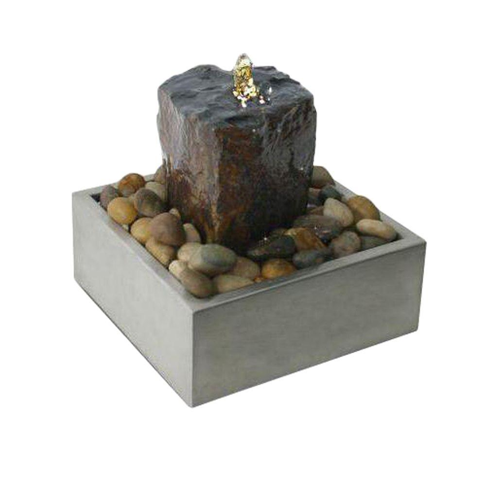 Algreen Illuminated Relaxation Fountain with Authentic Basalt Rock Pillar and Stainless Steel Base