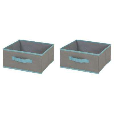 Crea 2-Pair Gray and Turquoise Fabric Bin Storage