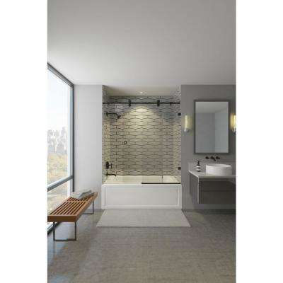 Model 8800 60 in. x 66 in. Frameless Sliding Tub Door in Bronze with Circular Thru-Glass Door Pull