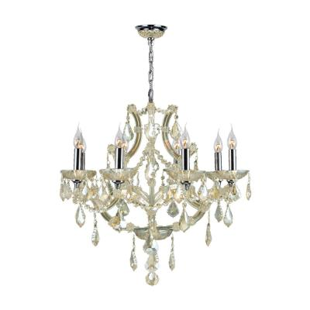 Lyre Collection 8-Light Polished Chrome and Golden Teak Crystal Chandelier