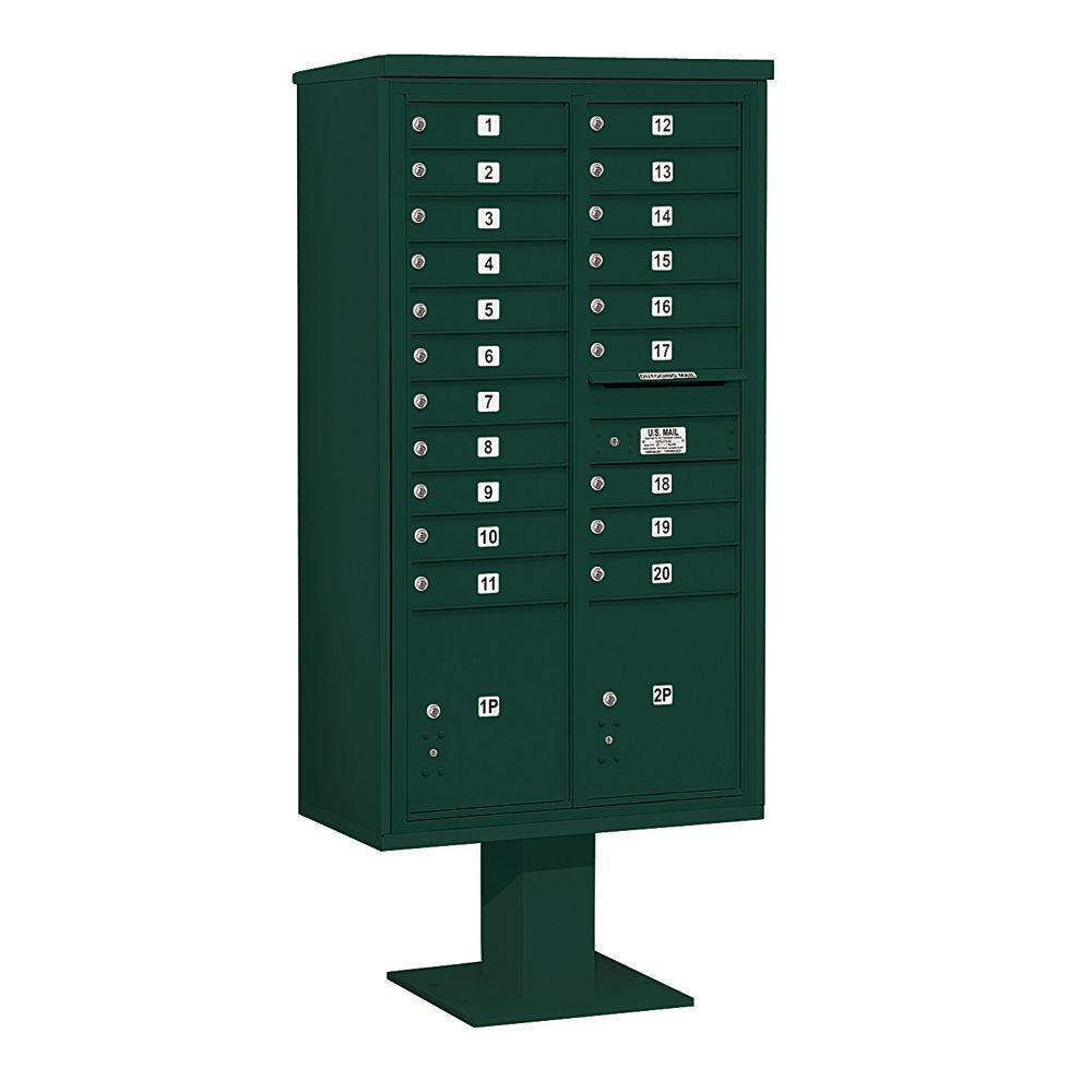 Salsbury Industries 3400 Series Green Mount 4C Pedestal Mailbox with 20 MB1 Doors/2 PL