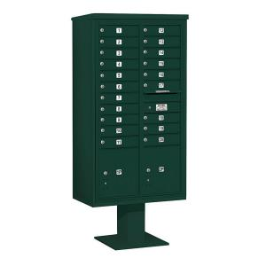 Salsbury Industries 3400 Series Green Mount 4C Pedestal Mailbox with 20 MB1 Doors/2 PL by Salsbury Industries