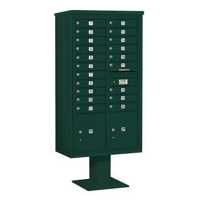 3400 Series Green Mount 4C Pedestal Mailbox with 20 MB1 Doors/2 PL