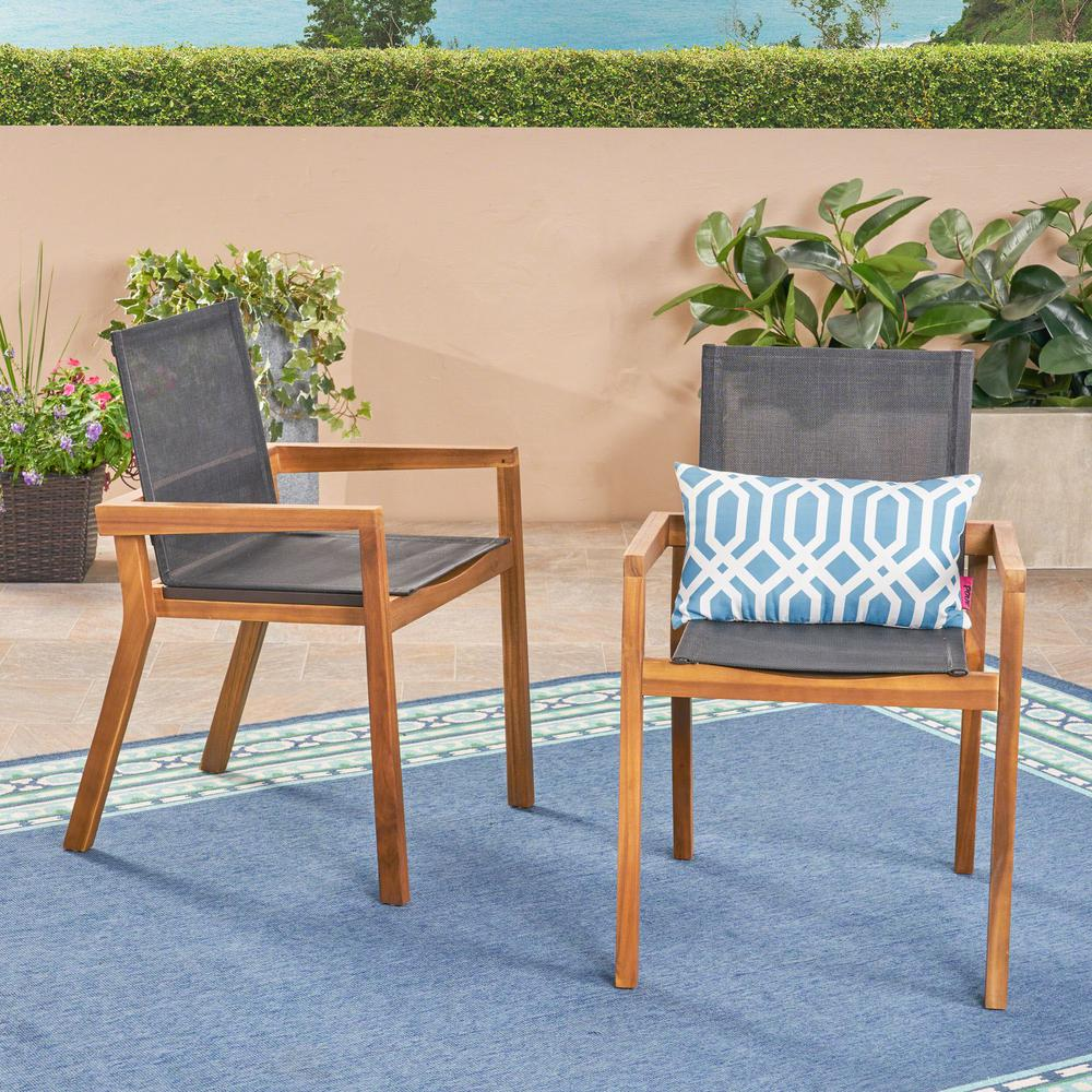 Go Teak Stationary Wood Outdoor Dining Chair 2 Pack