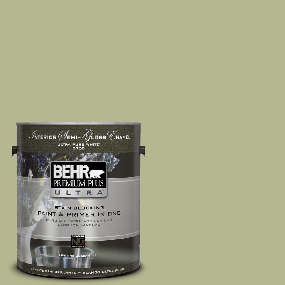 BEHR Premium Plus Ultra 1-gal. #HDC-SP14-1 Secret Glade Semi-Gloss Enamel Interior Paint